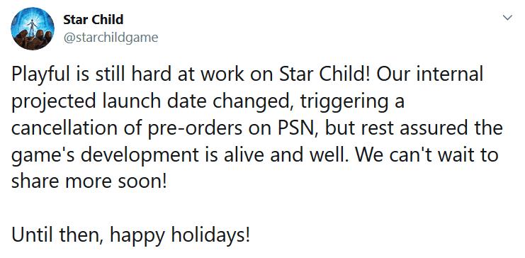 Mensaje de Twitter de los desarrolladores del juego Star Child