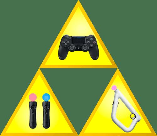 Mandos disponibles para PS VR Dualshock de PS4 Mandos Move de PS3 o PS4 y la pistola Aim Controller
