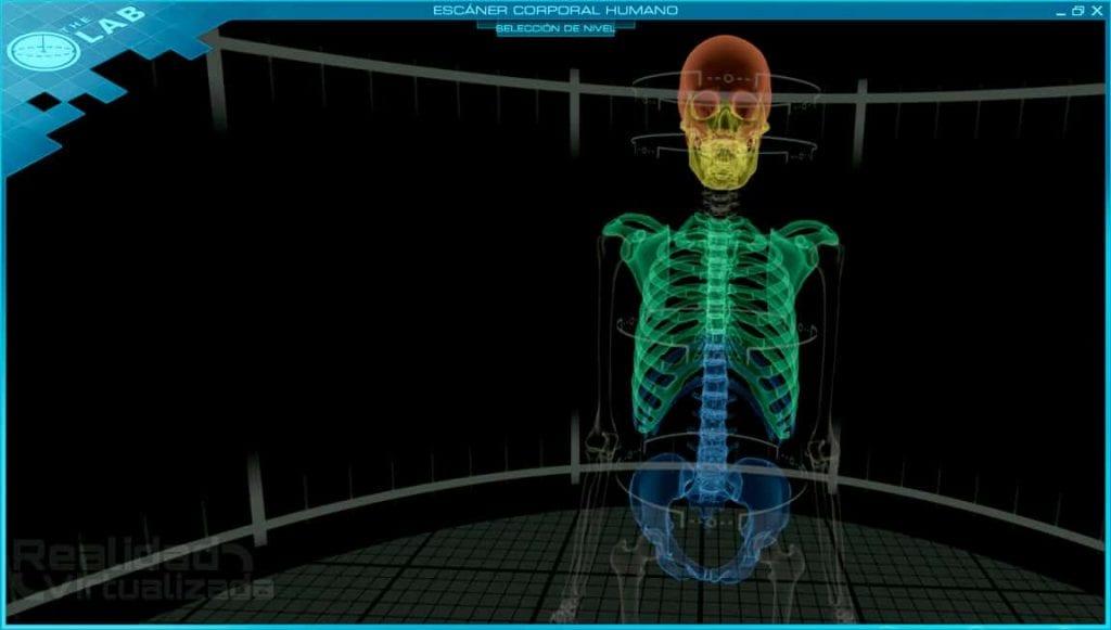 Escaner de un cuerpo humano en realidad virtual del juego the lab