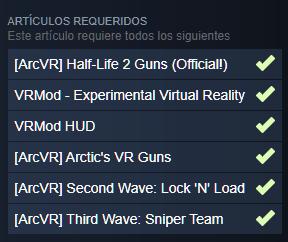 Mods necesarios para hacer funcionar el mod de Half Life 2 VR